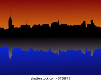 Midtown manhattan New York City skyline at dusk reflected in water JPG