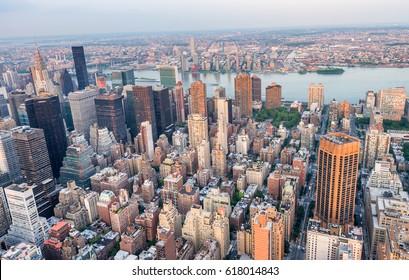 Midtown Manhattan night aerial skyline.
