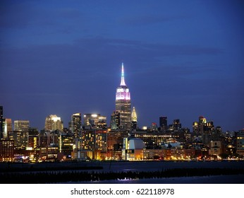 Midtown Manhattan skyline at dusk from Hoboken Jersey City