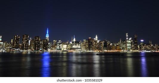 Midtown Manhattan Skyline Panorama at Night