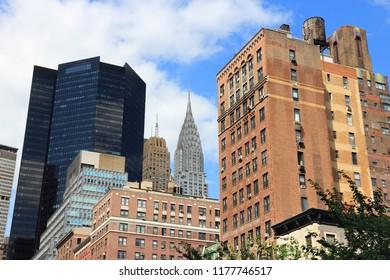 Midtown Manhattan skyline seen from public street. New York City architecture.