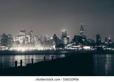Midtown New York City urban skyline in the morning