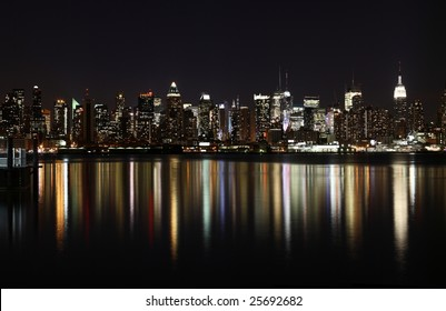 Midtown (West Side) Manhattan at night (panoramic photo made of multiple shots -> great resolution, very suitable for large size prints)