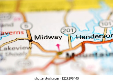 Midway. Arkansas. USA on a geography map