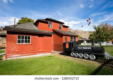 Midway, British Columbia, Canada - September 25, 2018: Exterior view of the quaint Kettle River Museum located in the village of Midway, British Columbia, Canada.