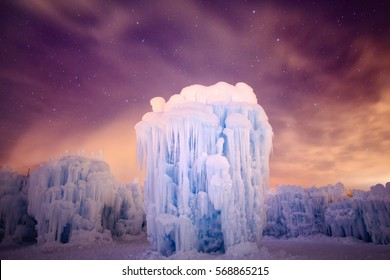Midway Ice-castles Tower at night