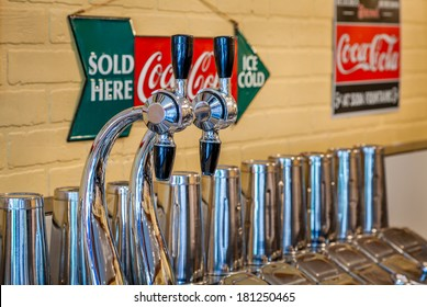 MIDWAY, KENTUCKY, USA - JULY 06, 2013: Traditional 1950s soda fountain in a pharmacy shop in Midway, Kentucky.