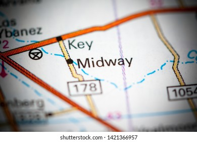 Midway. Texas. USA on a map