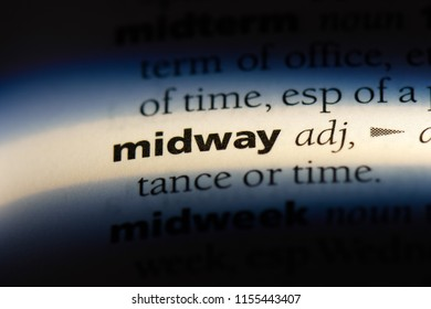midway word in a dictionary. midway concept.