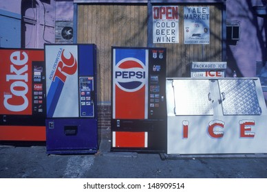 MIDWEST - CIRCA 1980's: Miscellaneous soda machine signs