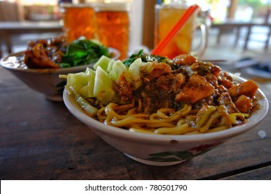 Mie Ayam ( chicken noodle), Indonesian cuisine.
