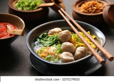 Mie Bakso. Popular Indonesian dish of noodle soup with meatballs.