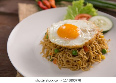 mie goreng or fried noodle traditional indonesian or chinese food