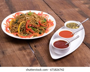 Mee goreng images stock photos vectors shutterstock mie goreng veg noodles served in a white plate with sauce on wooden background altavistaventures Image collections