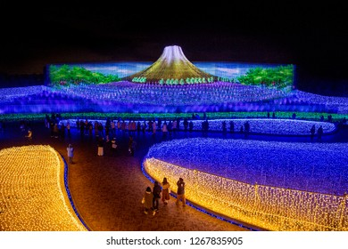 Mie, Japan - December 2018 : The sea of light in Nabana no Sato garden at night in winter, Nagano, Japan. The great illumination light festival show in Japan winter.