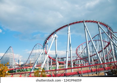 Mie, Japan - February 22, 2013: Steel Dragon, famous Roller coaster in Nagashima spa land
