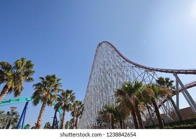 MIE JAPAN - NOVEMBER 11, 2018: Steel Dragon roller coaster at Nagashima spa land amusement park in Mie Japan.