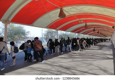 MIE JAPAN - NOVEMBER 11, 2018: Unidentified people queue for gate open at Nagashima spa land amusement park in Mie Japan.
