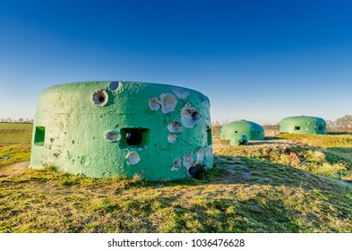 MIEDZYRZECZ, LUBUSZ PROVINCE/POLAND - DECEMBER 28, 2016: Bunkers in Miedzyrzecz Fortification Region Built in 1934-44, as the most technologically advanced fortification system of Nazi Germany.