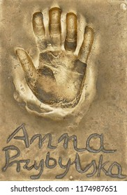 Miedzyzdroje, Poland, 15 August 2018:  A handprint of famous Polish actress Anna Przybylska made in a brass plate