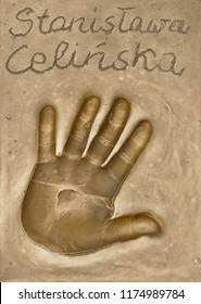 Miedzyzdroje, Poland, 15 August 2018:  A handprint of famous Polish actress and singer Stanislawa Celinska made in a brass plate