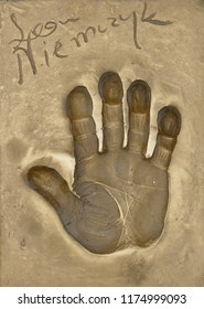 Miedzyzdroje, Poland, 15 August 2018:  A handprint of famous Polish actor Leon Niemczyk made in a brass plate