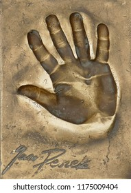 Miedzyzdroje, Poland, 15 August 2018:  A handprint of famous Polish actor and director Jan Peszek made in a brass plate