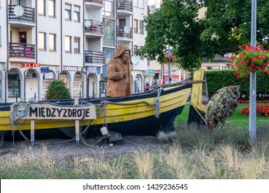Miedzyzdroje Poland - 24 Jule,2018 Fisherman , symbol of Miedzyzdroje resort.