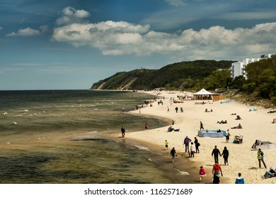 MIEDZYZDROJE, POLAND - JULY 11, 2017: Miedzyzdroje is a town and a seaside resort in northwestern Poland on the island of Wolin on the Baltic coast.