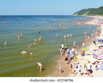 MIEDZYZDROJE, POLAND, July 4, 2015: The beach in Miedzyzdroje , Poland
