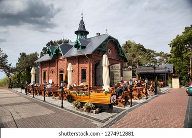 MIEDZYZDROJE, POLAND-JUNI 16, 2018: Miedzyzdroje is a town and a seaside resort in northwestern Poland on the island of Wolin on the Baltic coast.