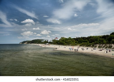 MIEDZYZDROJE, POLAND-JUNI 23, 2015: Miedzyzdroje is a town and a seaside resort in northwestern Poland on the island of Wolin on the Baltic coast.