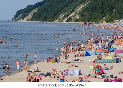 MIEDZYZDROJE, WEST POMERANIAN / POLAND - 2017: Sunny summer day on the sea beach