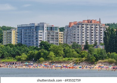 MIEDZYZDROJE, WEST POMERANIAN / POLAND - 2017: Beach holiday. Vacation homes on the sea shore