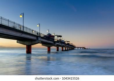 MIEDZYZDROJE, WEST POMERANIAN PROVINCE / POLAND - DECEMBER 27, 2016: Pier on the Baltic coast.