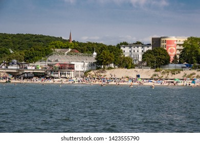 Miedzyzdroje, westpomerania, Poland -  June 22 2018 Miedzyzdroje beach during summertime