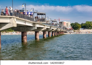 Miedzyzdroje, westpomerania, Poland -  June 22 2018  Viw at pier on Miedzyzdroje durng holiday