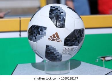 MIELEC, POLAND - MAY 12, 2018: Polish Premier Football League Sandecja Nowy Sacz - Cracovia Krakow o/p Ball Adidas Telstar World Cup 2018 Official