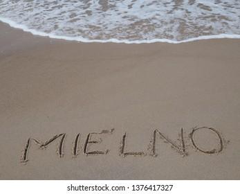 Mielno Beach, text on the beach