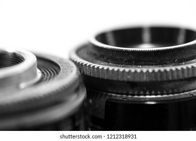 Miercurea Ciuc, Romania-18 October 2018: Old , dusty, vintage  film camera from the 1960 s close up detailed macro shot in black and white.