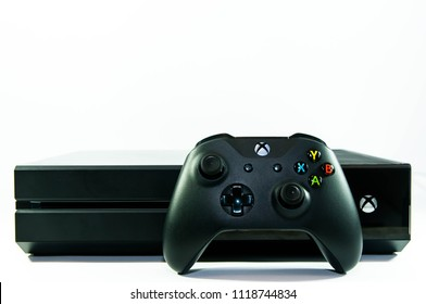 Miercurea Ciuc, Romania-23 June 2018: Xbox one  video game and controller isolated on white background.