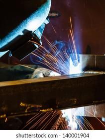 MIG welding in a factory