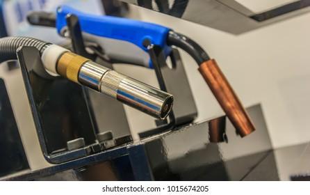 Mig welding gun and welding tools. close up