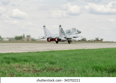 MiG-29 (NATO codification: Fulcrum) â?? the Soviet and Russian multi-purpose fighter of fourth generation, during the execution of training flights. On 25 April 2012. Voronezh, Russia