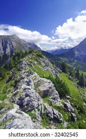 Mighty Alpine mountain range in Austria, spring time.