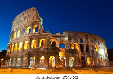 Mighty Coliseum (AD 80), illuminated at night, Rome, Italy.