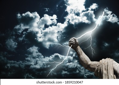 Mighty god Zeus. The power of king of Olympic gods is the ability to throw lightning bolts. Fragment of an ancient statue. - Shutterstock ID 1859210047