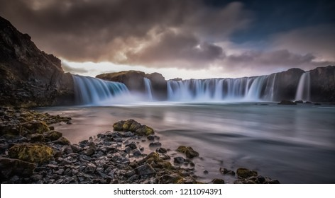 The mighty Godafoss waterfall in Iceland glistening in the late afternoon sun during early autumn