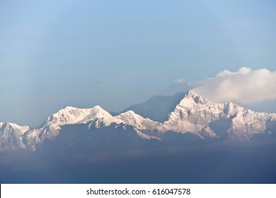 The mighty Kanchenjunga as seen from Darjeeling, West Bengal, India.