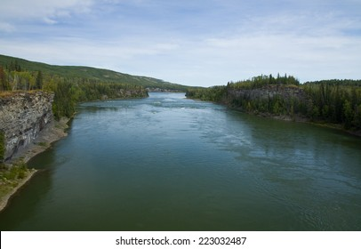 Mighty Peace River flows through a gorge, northeastern British Columbia, Canada